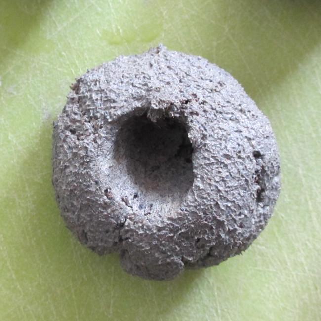 Etape 12 : le trou doit aller jusqu'au centre de la boulette.
